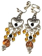 Amber & Black Chandelier Earrings Clip-On Long Tibetan Silver Style Clips Dangle