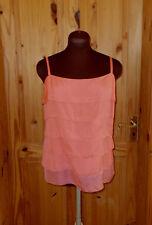 PIED A TERRE coral orange salmon SILK layered rara camisole vest tunic top 14 42