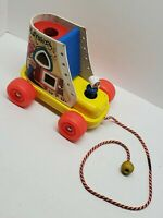 Vtg Playskool Wooden Roller Skate House Pull Toy Plastic Wheels Little People