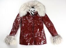 Dolce & Gabbana Vintage ICONIC 1990s Patent Leather Fur Jacket Coat Eu 42