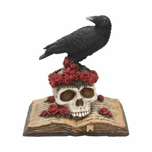 Nemesis Now Heartaches Reflection Raven on Roses Skull & Pile Of Books Gothic