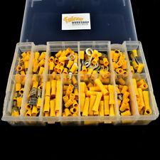 260 PCE ASSORTED YELLOW WIRE ELECTRIC TERMINAL KIT- RING SPADE BUTT FEMALE MALE