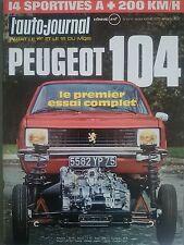 L'AUTO JOURNAL 1972 19 PEUGEOT 104 GP USA ESSAI LES + BELLES SPORTIVES DU MONDE