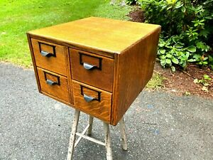 Antique  Oak 4 Drawer Library Card Catalog - Wood File Cabinet
