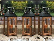 "6 large brown wood & metal 20"" tall Candle holder Lantern wedding decorations"