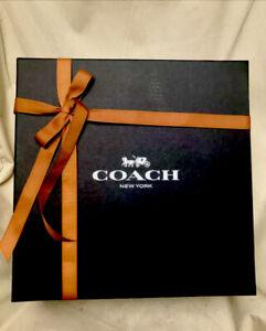 COACH SIGNATURE BLACK EMPTY GIFTBOX W RIBBON LARGE 14.5 x 14.5 x 6 Brand New