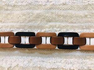 Fossil Leather Tan Cream Black 3 Tone Leather Belt