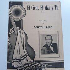 Hoja de la canción Augustin Lara el cielo el mar y tu, Pedro Vargas, 1950