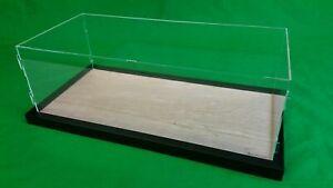22x9.75x7 Pocher Acrylic Display Case Stand Showcase Wood Base Counter Top Shelf