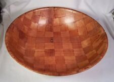 "Salad Mixing Bowl 18"" Round Woven Pressed Wood Large"