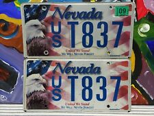 Nevada Flag 911 Vanity License Plate Tag Sign Eagle United We Stand Pair USA 837