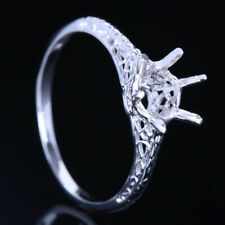 Sterling Silver 925 Round 5.25-6.25mm Cut Solitaire Semi Mount Setting Fine Ring