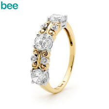 New Stella Antique Style Gemstone 9k 9ct Solid Yellow Gold Journey Ring Size P