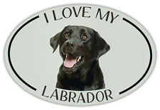 Oval Dog Breed Picture Car Magnet - I Love My Labrador (Black Lab) - Sticker