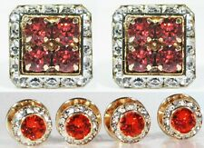 Padparadscha Tuxedo Square Cufflinks & Round Studs Made With Swarovski Crystals