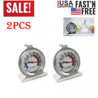 2pcs Stainless Steel Freezer Refrigerator Thermometer Dial Type Home Kitchen US