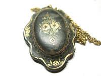 Antique Victorian Gold Overlay Pique Pendant