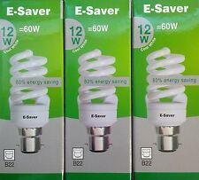 3x E-Saver, Energy Saving CFL Light Bulbs, Spiral, 12w, Cool White, B22 Bayonet