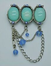 SIMPLY UNIQUE STYLE BLUE/CLEAR STONE WEDDING PARTY PIN/ BROOCH FASHION lot/1