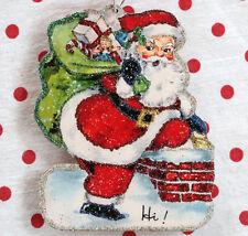 Glittered Wooden Christmas Ornament~Santa & Green Bag~ Vintage Card Image~