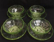 More details for vintage uranium green glass bowls and saucers floral design