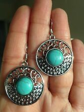 Earrings Round Silver Turquoise Hippie Ethnic Boho Tribal Bohemian A1072