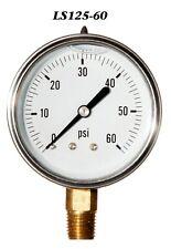 New Hydraulic Liquid Filled Pressure Gauge 0 60 Psi 25 Face 14 Lm