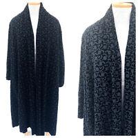 Vintage VTG 1940s 40s Black Velvet Embroidered Opera Full Coat
