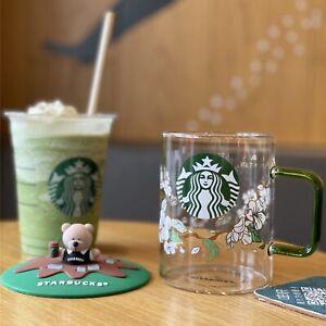 Limited Edition Starbucks Korea Pear Blossom Sakura Glass Cold Cup W/Bear Lid