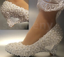 su.cheny Ivory white lace Daisy wedge heart-shaped pearls Wedding Bridal shoes