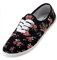 Womens Black Floral Print Canvas Sneakers Lace Up Plimsoll Tennis Shoes Sz 6-11