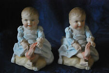 Victorian Pair of Bisque Spill vases or match Holders - Babies    #11