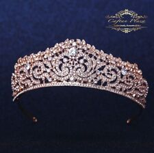 TIARE M Diadème couronne strass cristal parure pour cheveux or rose