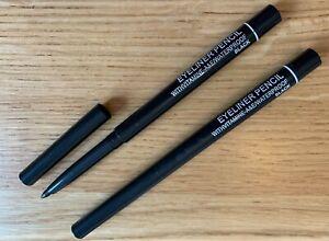 new 2 x black retractable eyeliners pencils waterproof