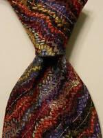 MISSONI Men's Silk/Polyester Necktie ITALY Luxury Geometric Multi-Colored EUC