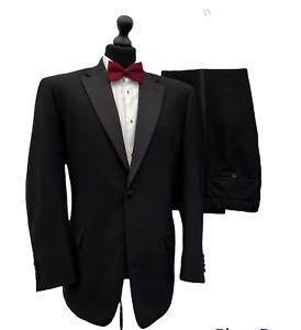 Mens Suit Tuxedo Dinner Evening 44R 39W 29L Black Formal Cruise  P254