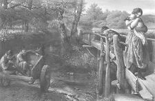 MOTHER & BABY on BRIDGE OVER RIVER watch HORSE CART ~ 1867 Art Print Engraving