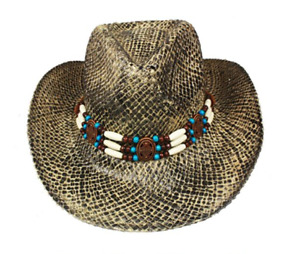 Tan Snake Skin Style Straw COWBOY HAT Beads SHAPEABLE Turquoise WESTERN Cowgirl
