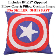 "18x18 18"" CAPTAIN AMERICA Zippered Pillow Case &Cushion Disney PIXAR Marvel DC"