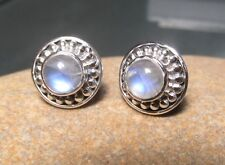 Sterling silver everyday cabochon 6mm rainbow moonstone STUD earrings.