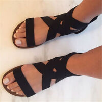 Summer Women Gladiator Beach Sandals Ankle Strappy Open Toe Flats Slippers Soft