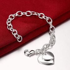 925 Silber  Bettelarmband Herzanhänger Armband Bracelet Blogger Damen Neu**