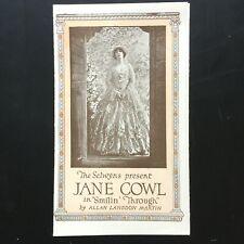 1921 JANE COWL Broadway Brochure SMILIN' THROUGH Broad St. Theatre NEWARK, NJ