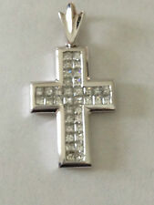 Princess Diamond Cross pendant 18k White Gold 1.75 carat invisible set VS G , H