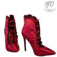 CM Paris Women's Shoes Burgundy Satin Frill Trims Stiletto Size 4 Uk / 37 Eu