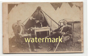 Officers at camp, identified, Essex, CDV