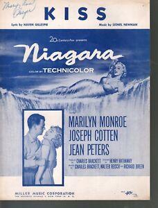 Kiss 1952 Marilyn Monroe Niagara Sheet Music