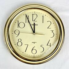Vintage Seiko Quartz Hanging Wall Clock Gold QAF085G Round Circular Working
