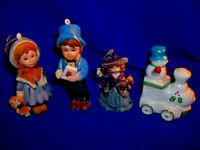 COLLECTIBLE SET OF 4 DIFFERENT VINTAGE CHRISTMAS ORNAMENTS