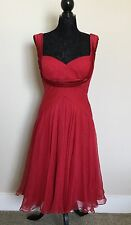Tadashi Collection 100% Silk Red Fit And Flare Cocktail Dress Size 10